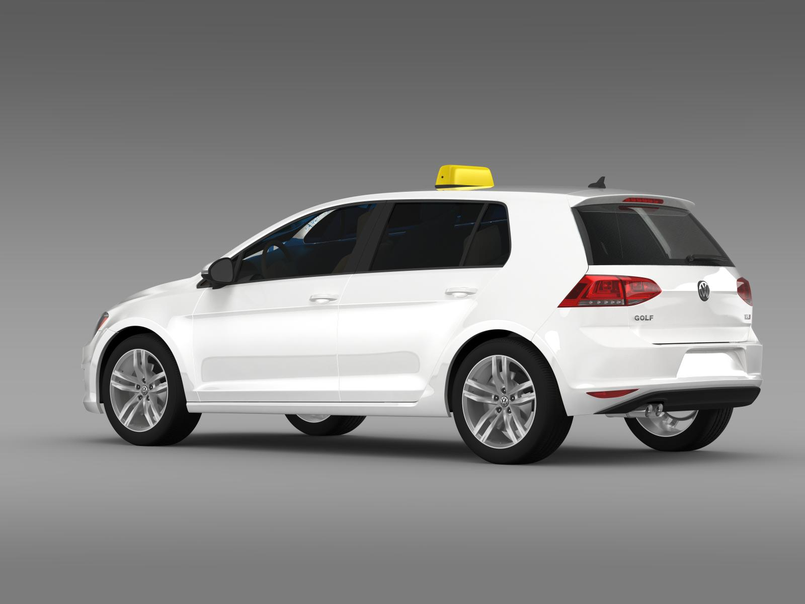 volkswagen golf tsi taxi 3d model buy volkswagen golf. Black Bedroom Furniture Sets. Home Design Ideas