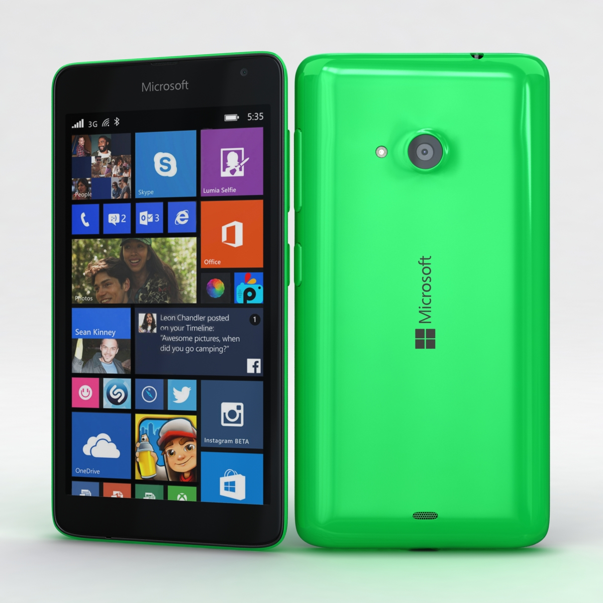 microsoft lumia 535 and dual sim green 3d model 3ds max fbx c4d obj 204164