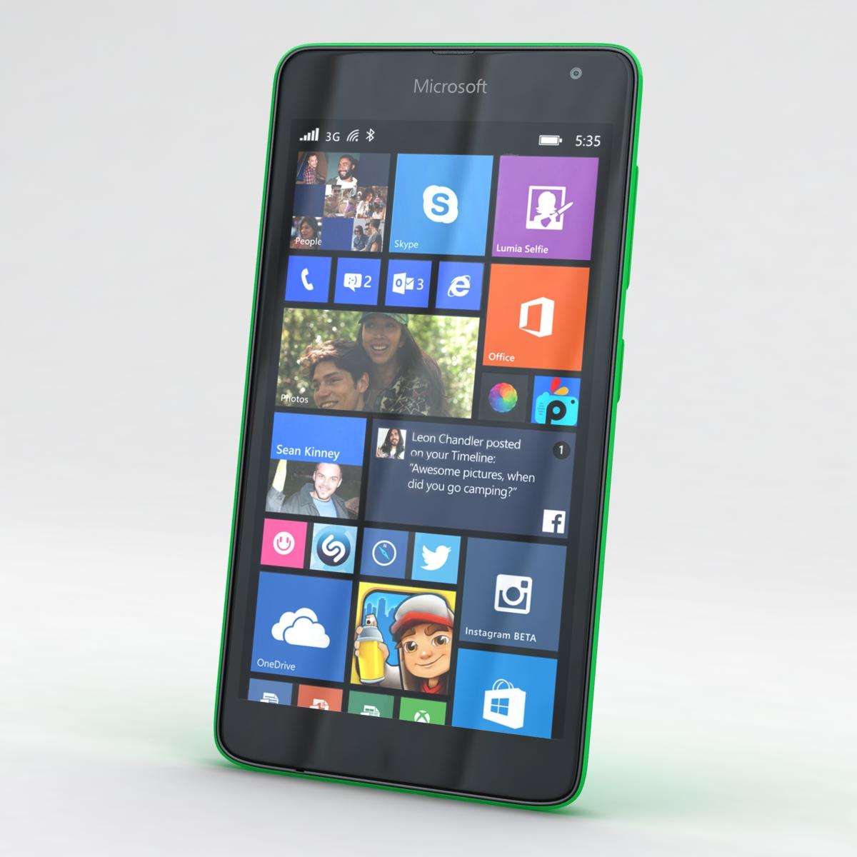 microsoft lumia 535 and dual sim green 3d model 3ds max fbx c4d obj 204166