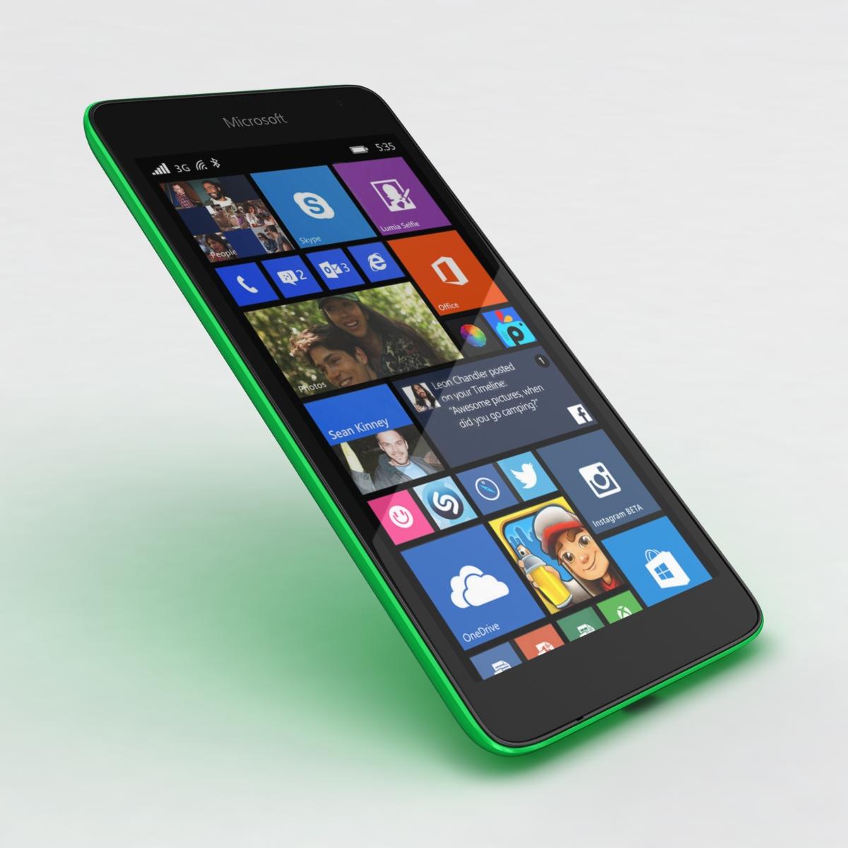 microsoft lumia 535 and dual sim green 3d model 3ds max fbx c4d obj 204181