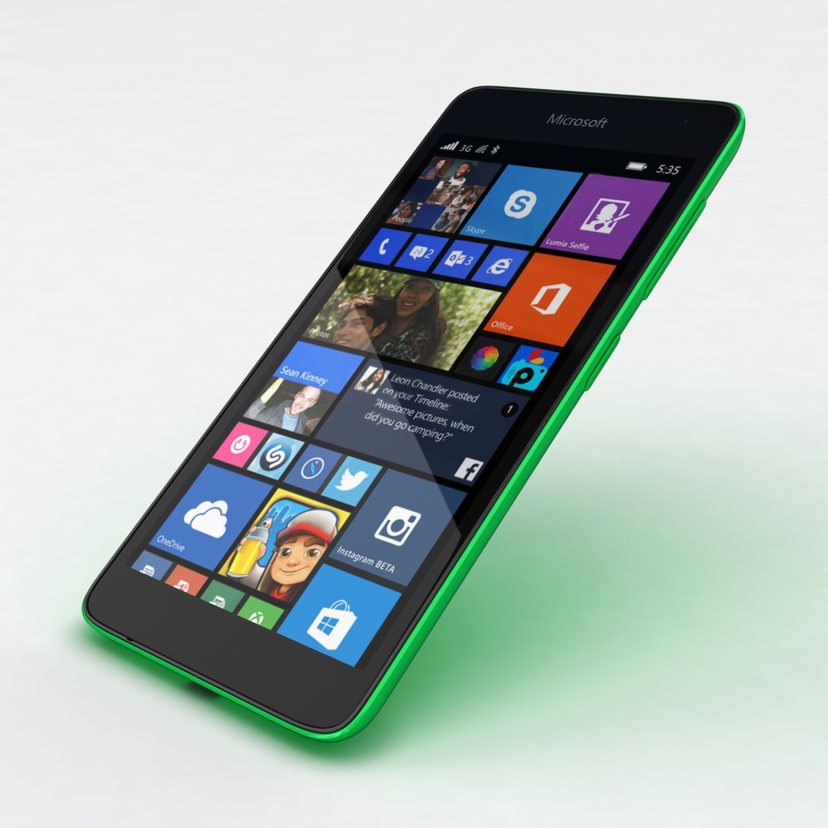 microsoft lumia 535 and dual sim green 3d model 3ds max fbx c4d obj 204182