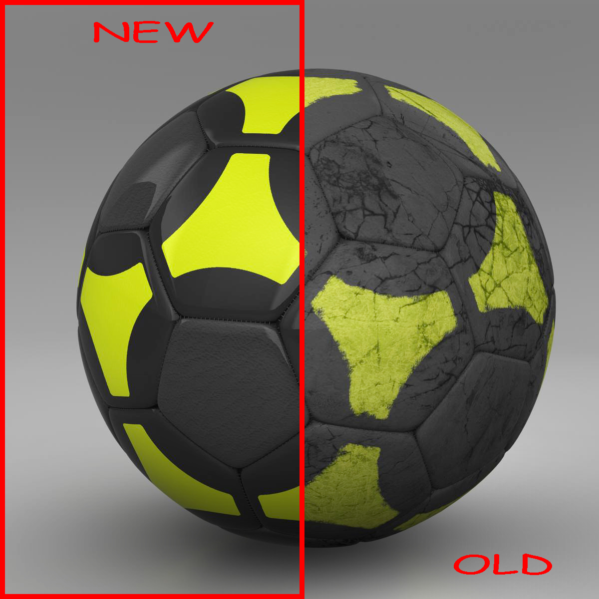 soccerball black yellow 3d model 3ds max fbx c4d ma mb obj 204205
