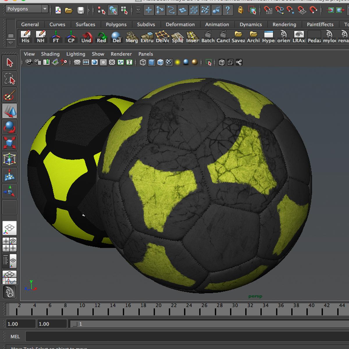 soccerball black yellow 3d model 3ds max fbx c4d ma mb obj 204214