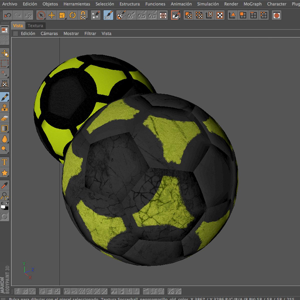 soccerball black yellow 3d model 3ds max fbx c4d ma mb obj 204215