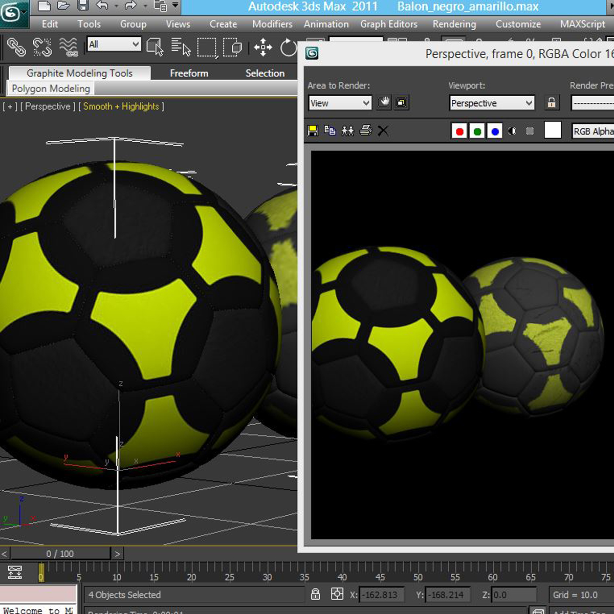 soccerball black yellow 3d model 3ds max fbx c4d ma mb obj 204216
