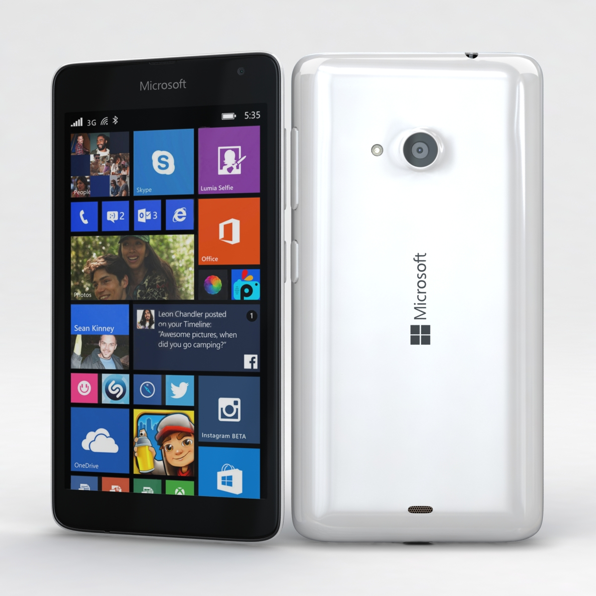 Microsoft Lumia 535 and Dual SIM White 3d model 3ds max fbx c4d obj 204281