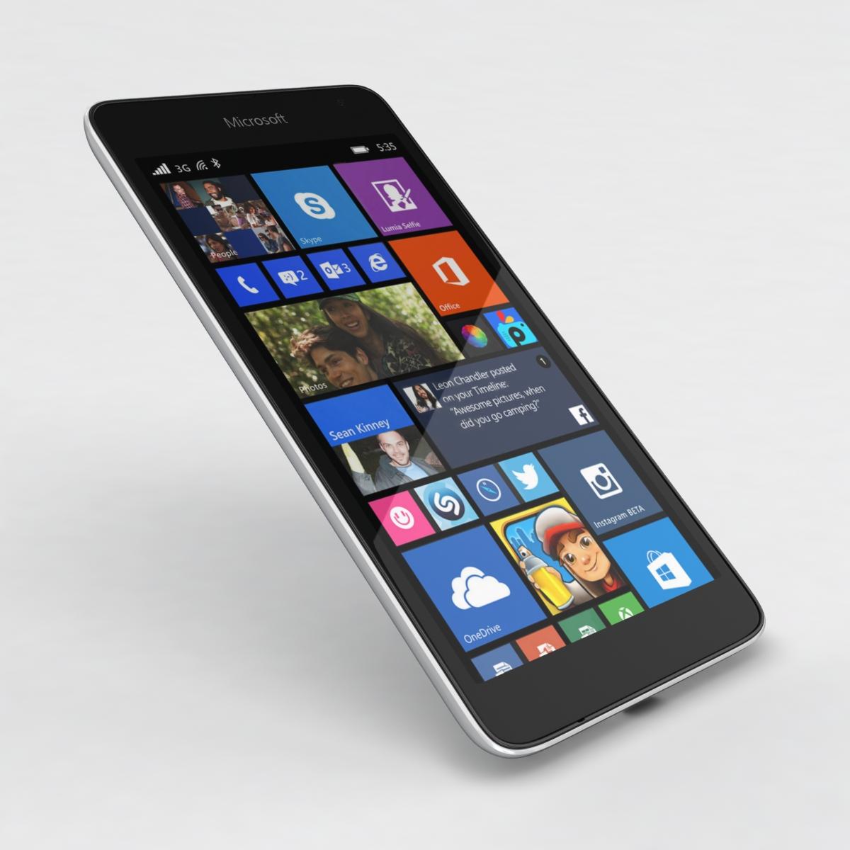 microsoft lumia 535 and dual sim white 3d model 3ds max fbx c4d obj 204291