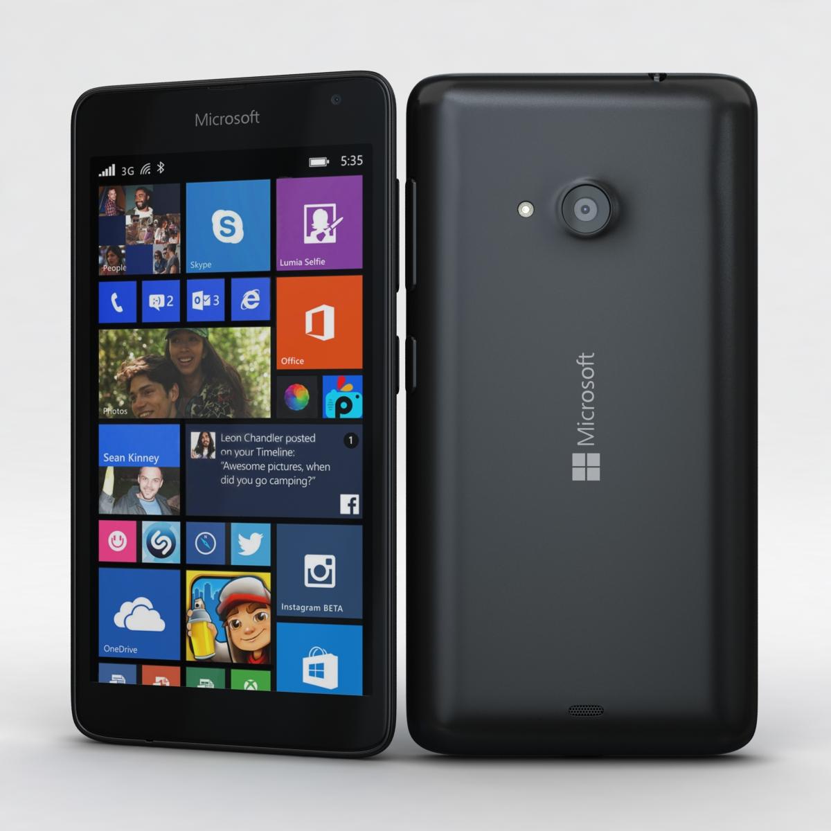Microsoft Lumia 535 and Dual SIM Black 3d model 3ds max fbx c4d obj 204349