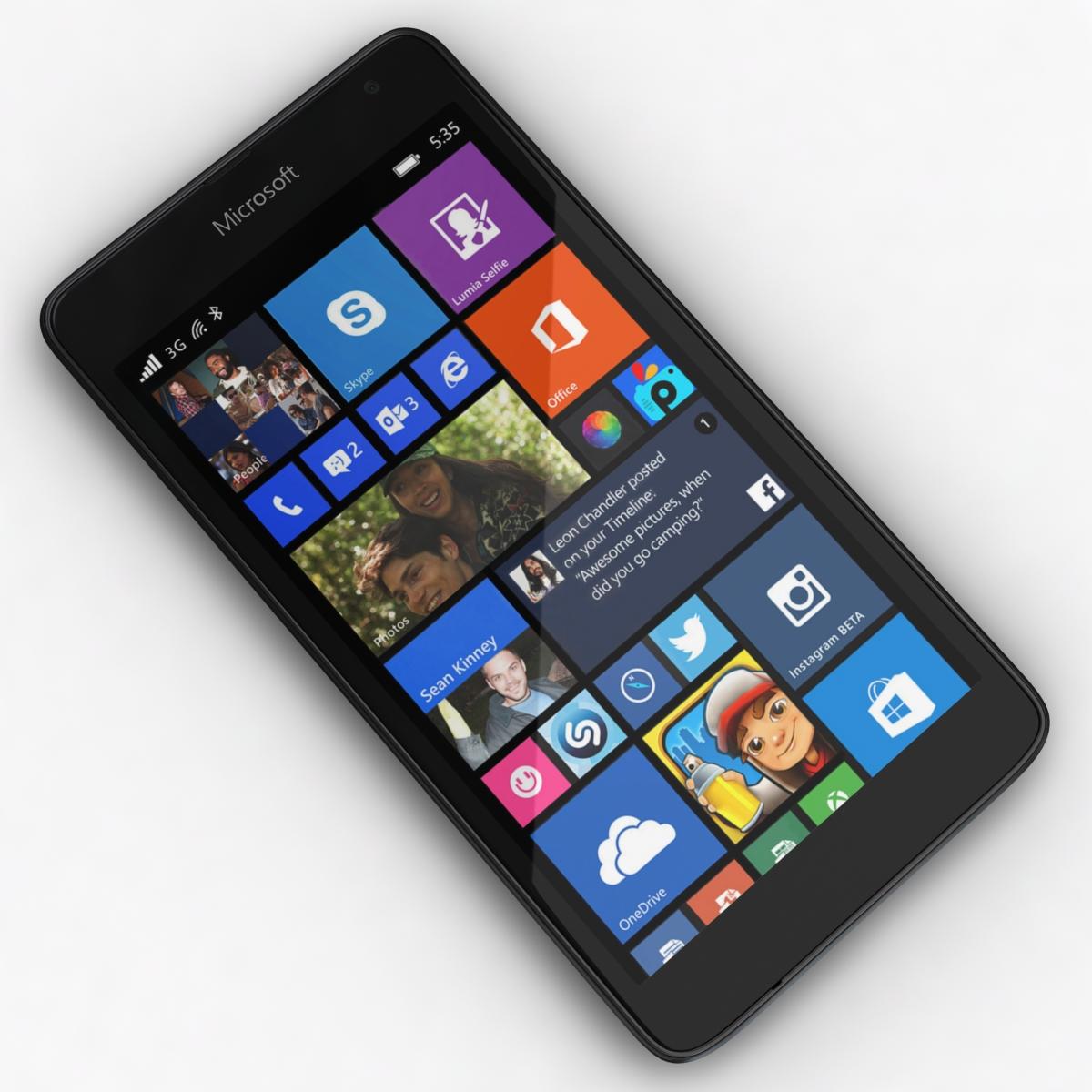 microsoft lumia 535 and dual sim black 3d model 3ds max fbx c4d obj 204352