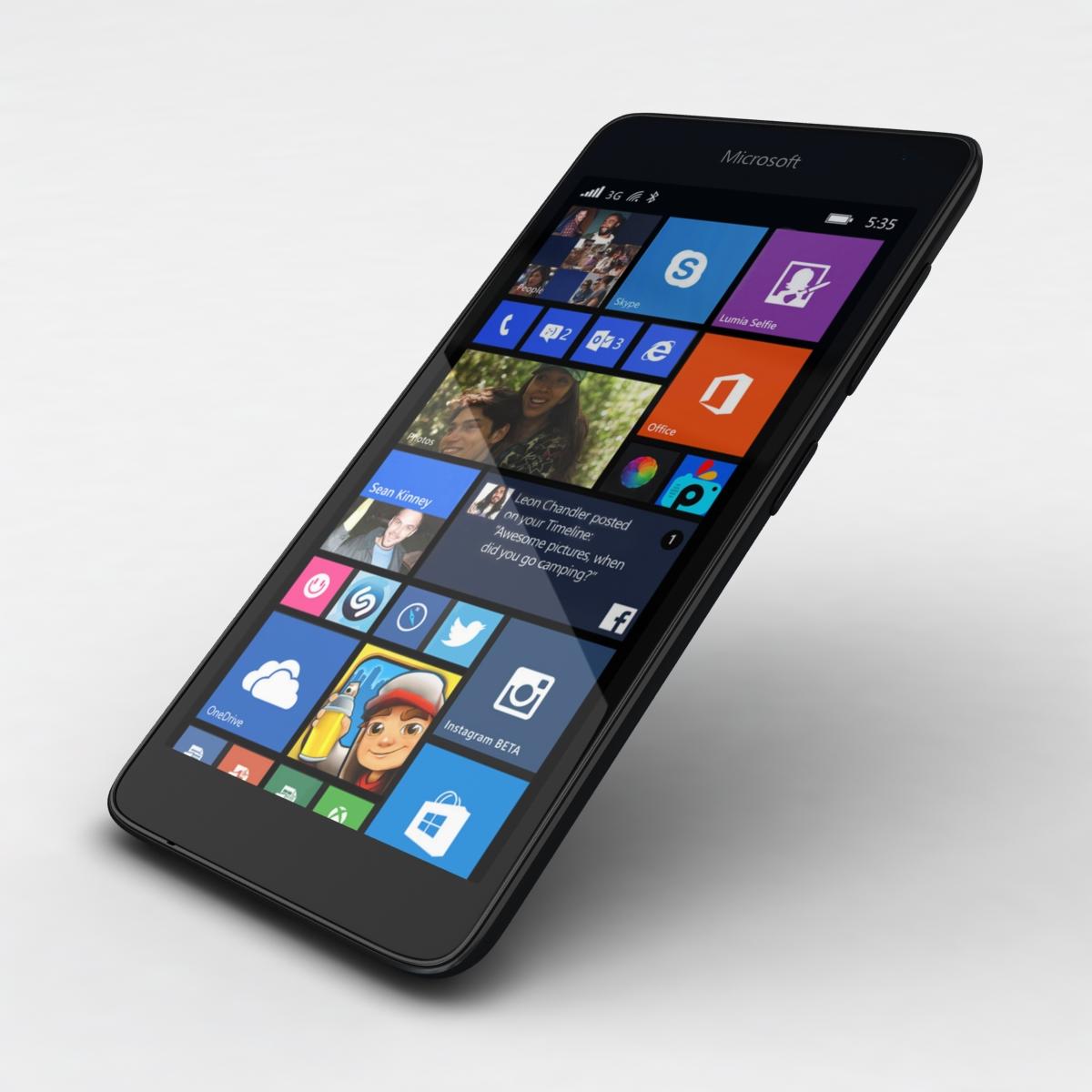 microsoft lumia 535 and dual sim black 3d model 3ds max fbx c4d obj 204362