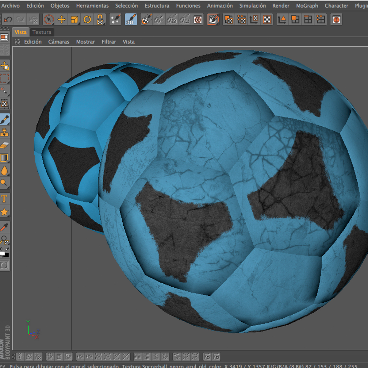 soccerball цэнхэр хар 3d загвар 3ds max fbx c4d ma mb obj 204385