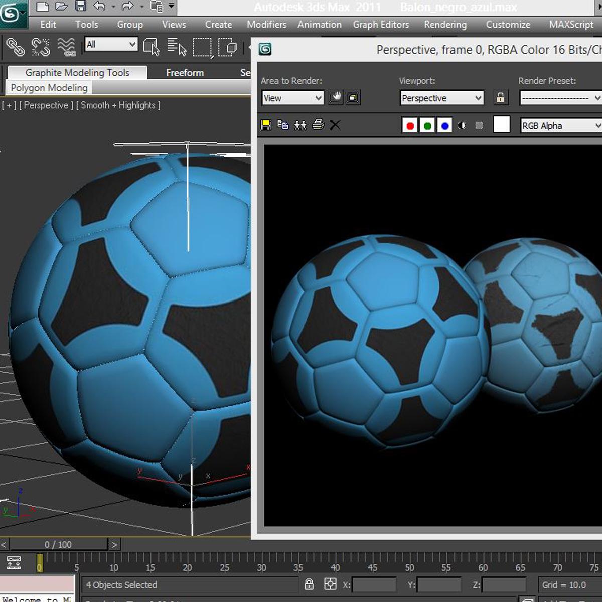 soccerball цэнхэр хар 3d загвар 3ds max fbx c4d ma mb obj 204386
