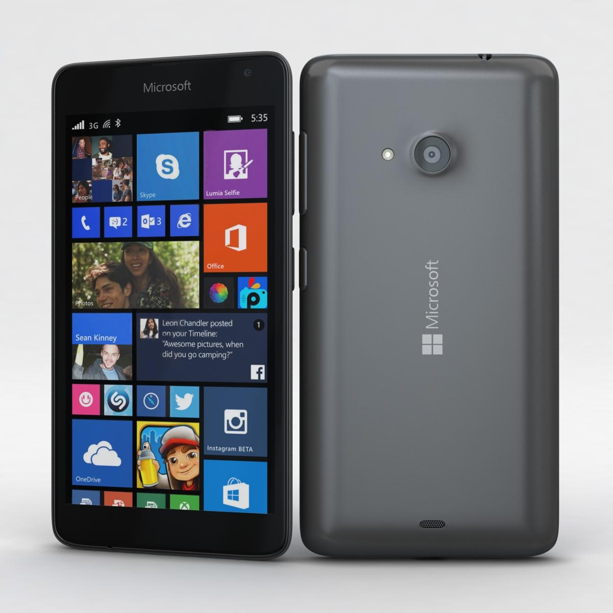 Microsoft Lumia 535 and Dual SIM Gray 3d model 3ds max fbx c4d obj 204463