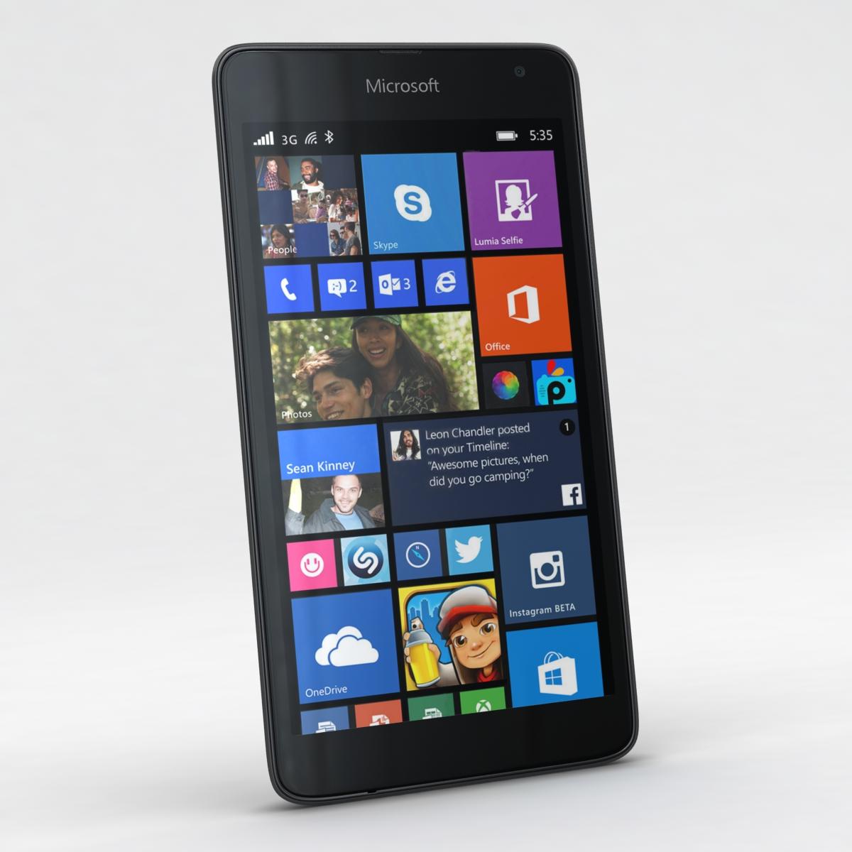 microsoft lumia 535 and dual sim gray 3d model 3ds max fbx c4d obj 204464