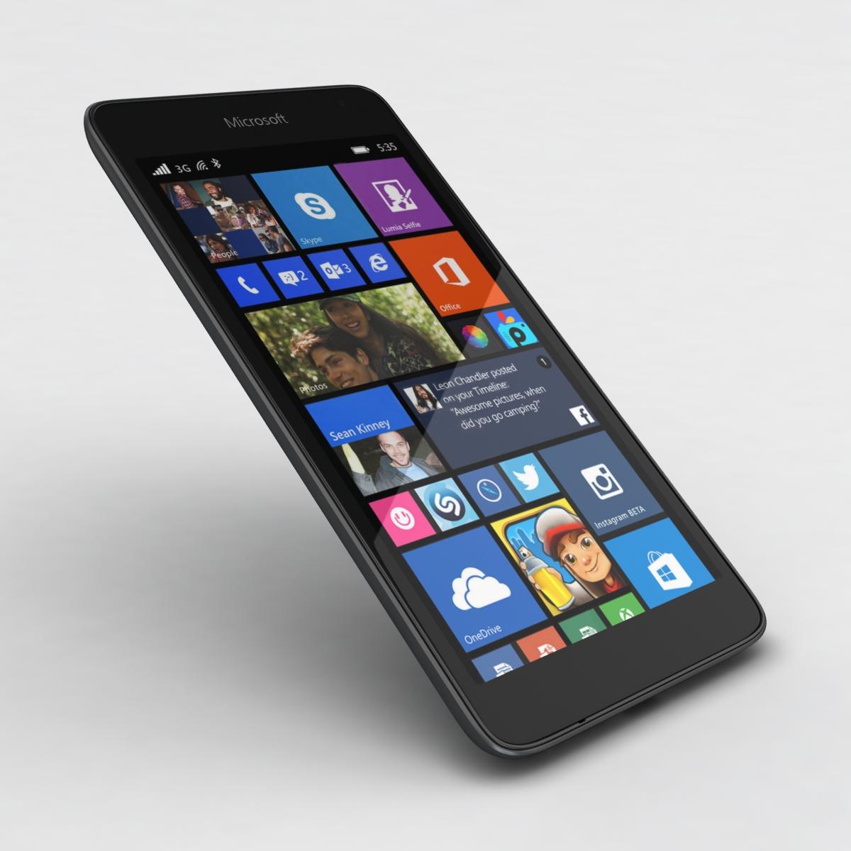 microsoft lumia 535 and dual sim gray 3d model 3ds max fbx c4d obj 204473