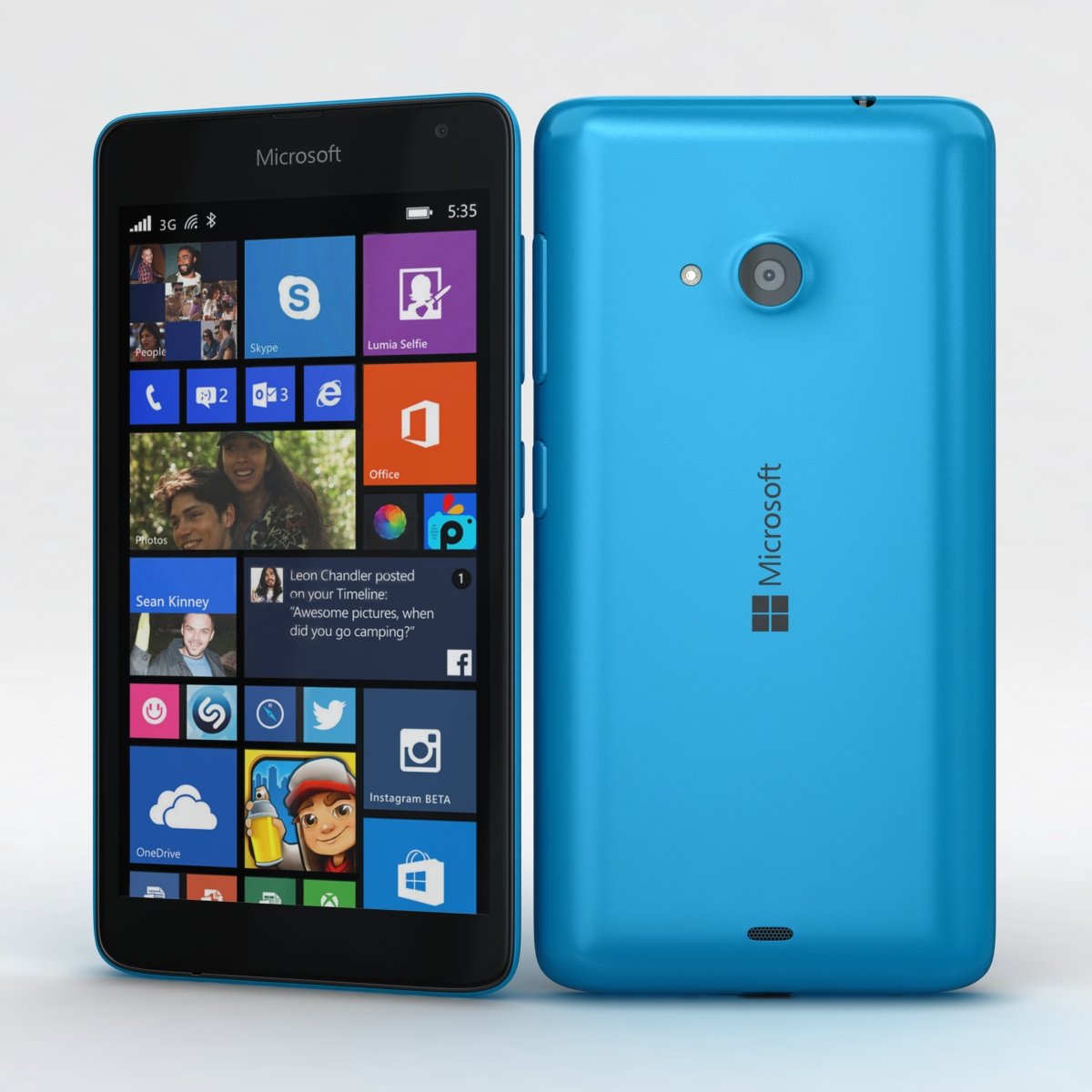 microsoft lumia 535 and dual sim blue 3d model 3ds max fbx c4d obj 204522