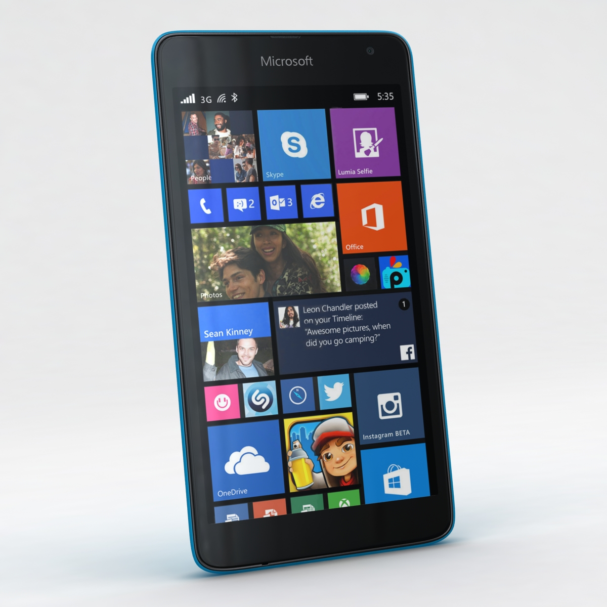 microsoft lumia 535 and dual sim blue 3d model 3ds max fbx c4d obj 204523