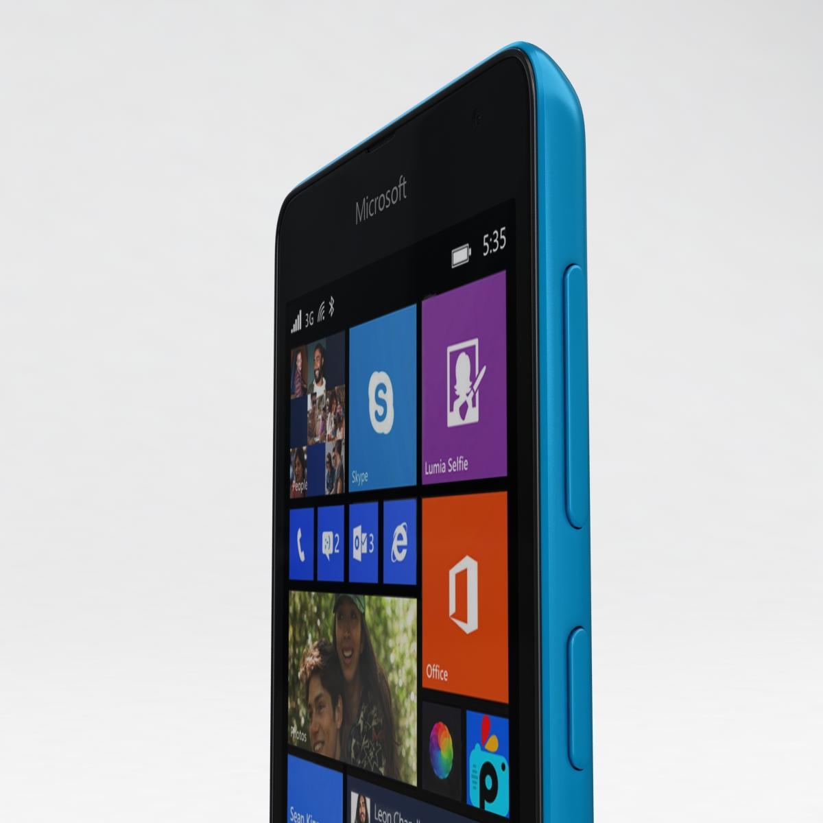microsoft lumia 535 and dual sim blue 3d model 3ds max fbx c4d obj 204531