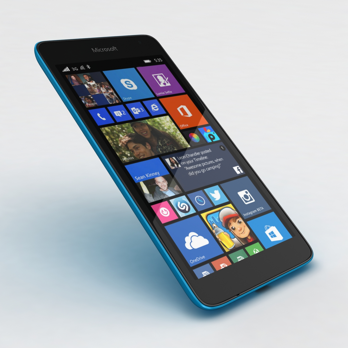 microsoft lumia 535 and dual sim blue 3d model 3ds max fbx c4d obj 204533