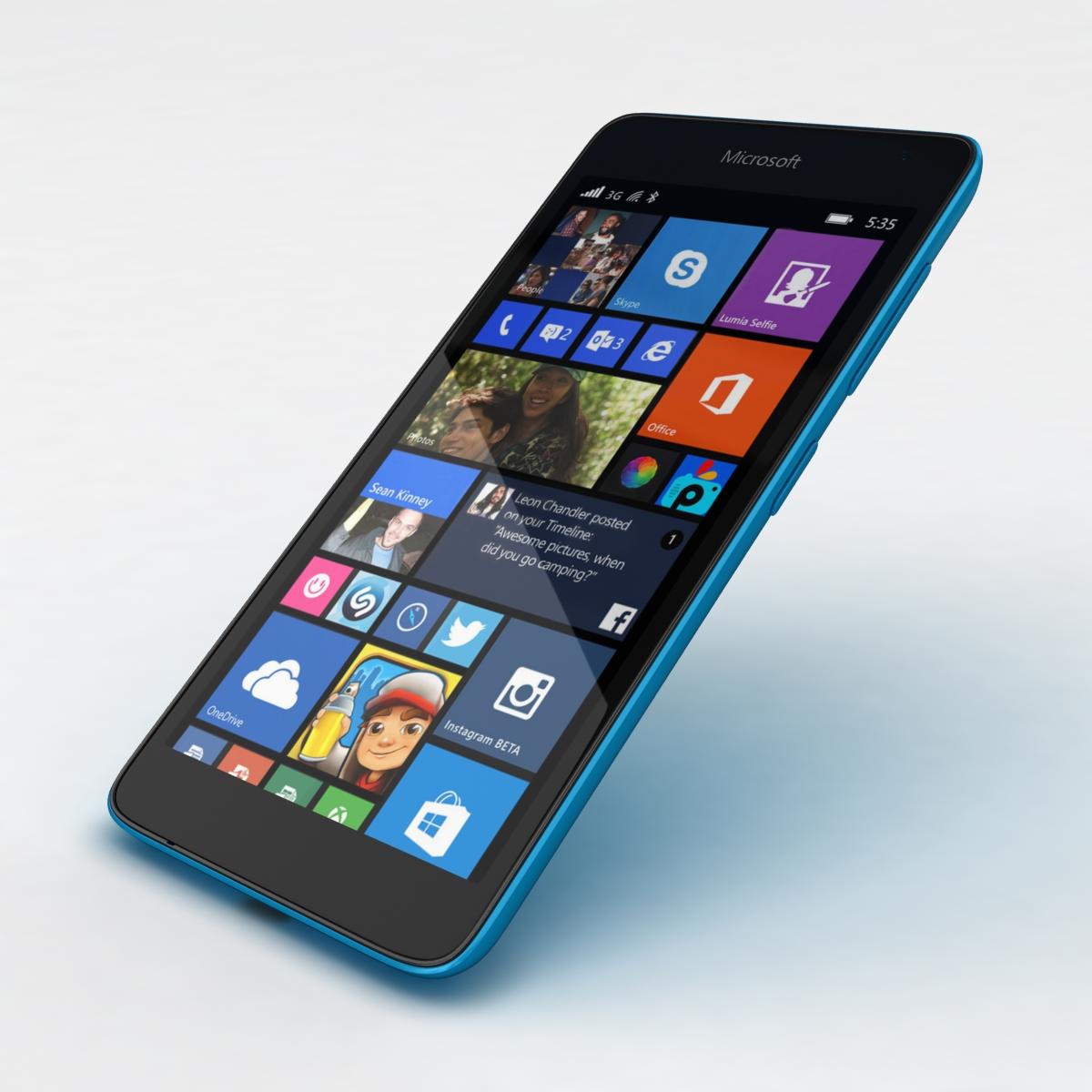 microsoft lumia 535 and dual sim blue 3d model 3ds max fbx c4d obj 204534