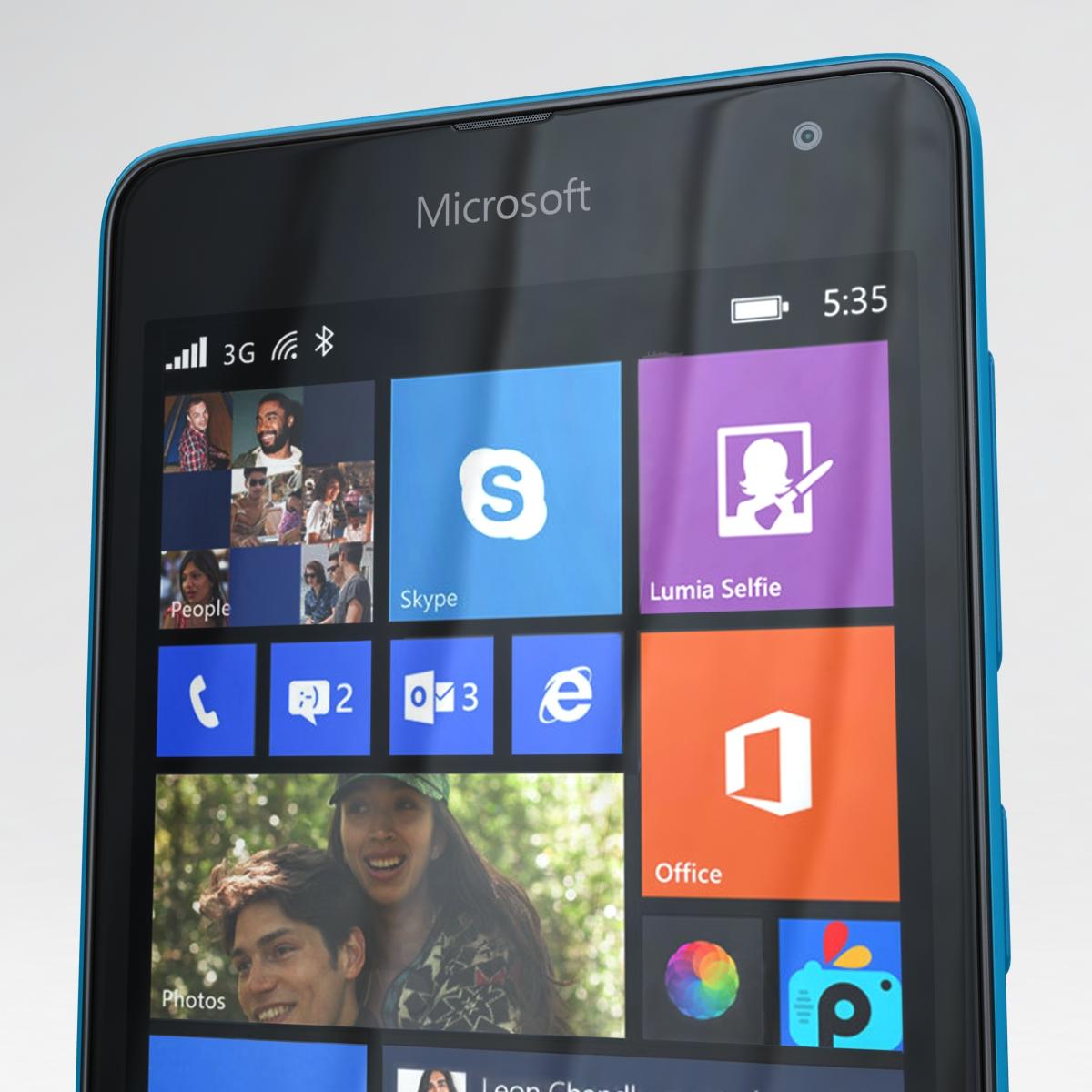 microsoft lumia 535 and dual sim blue 3d model 3ds max fbx c4d obj 204537