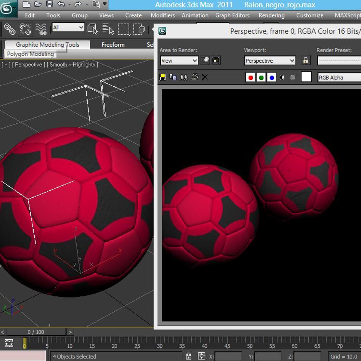 soccerball red black 3d model 3ds max fbx c4d ma mb obj 204559