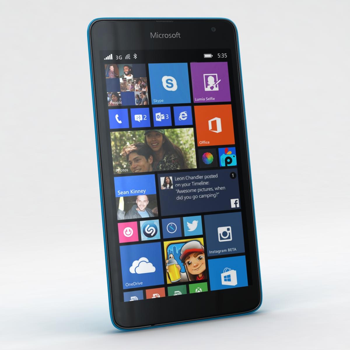 microsoft lumia 535 and dual sim all colors 3d model 3ds max fbx c4d obj 204694
