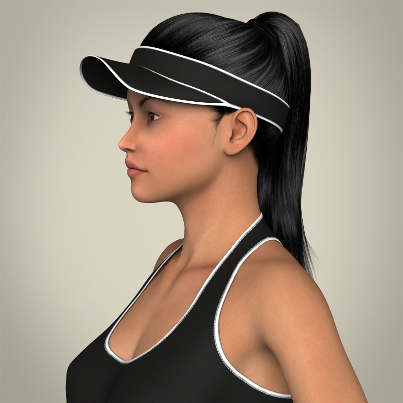realistic young beach sports girl 3d model 3ds max fbx c4d lwo ma mb texture obj 205415