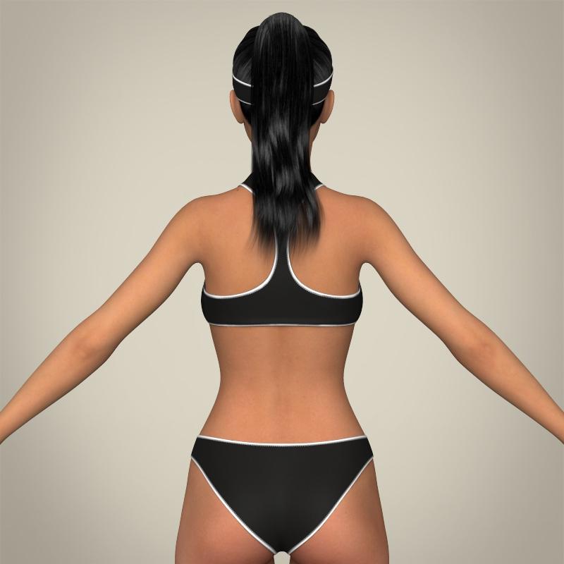 realistic young beach sports girl 3d model 3ds max fbx c4d lwo ma mb texture obj 205423