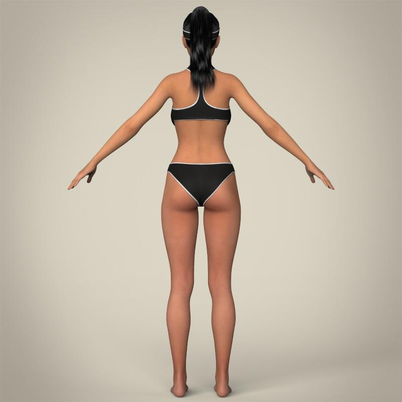 realistic young beach sports girl 3d model 3ds max fbx c4d lwo ma mb texture obj 205425