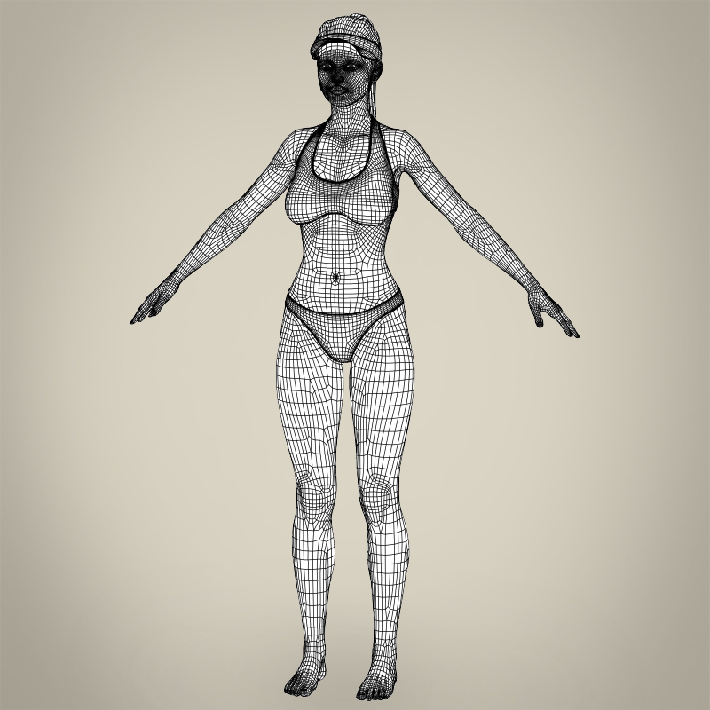 realistic young beach sports girl 3d model 3ds max fbx c4d lwo ma mb texture obj 205434