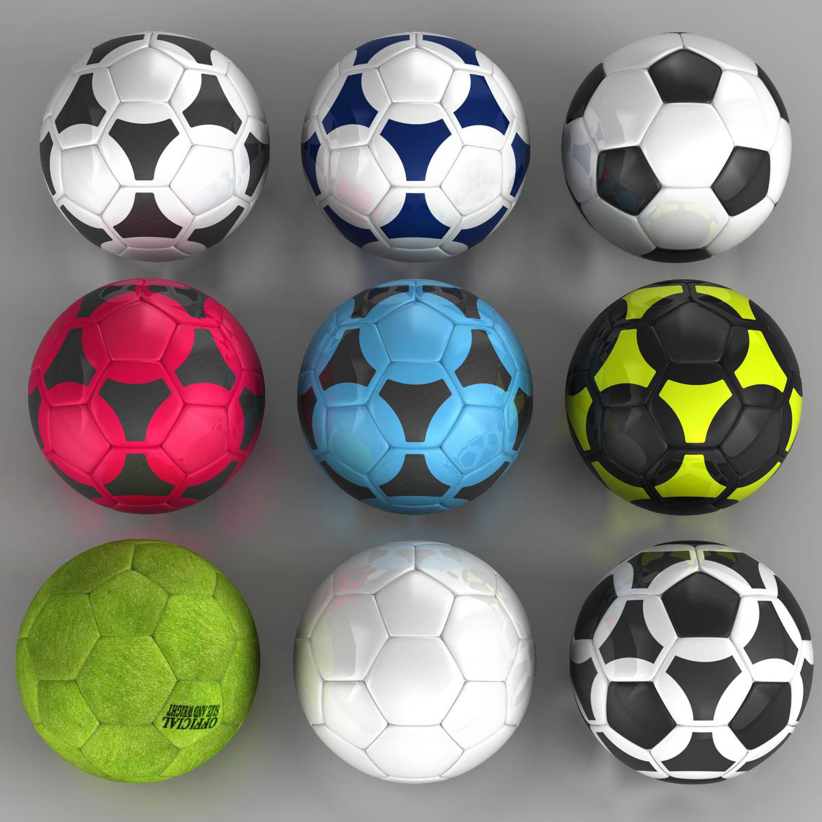 set soccerball 3d model 3ds max fbx c4d ma mb obj 205436