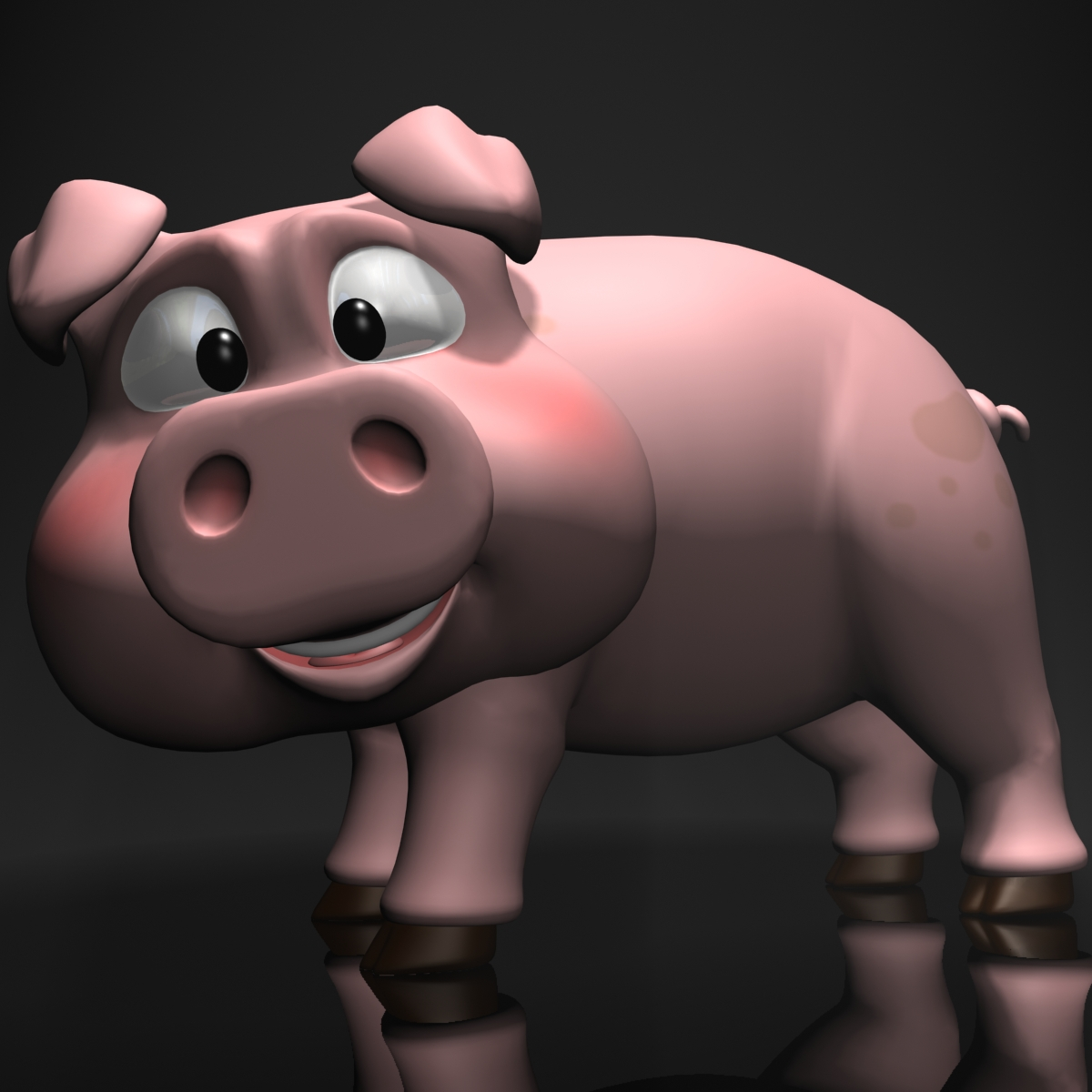 cartoon pig rigged 3d model 3ds max fbx  obj 205525