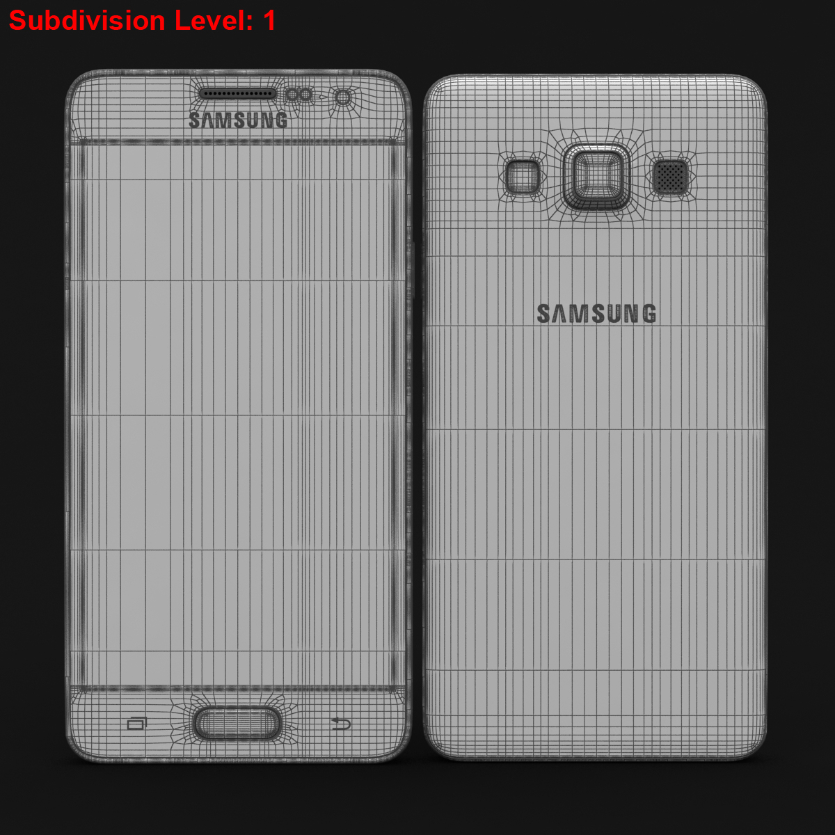 samsung galaxy a3 and a3 duos white 3d model 3ds max fbx c4d obj 206595