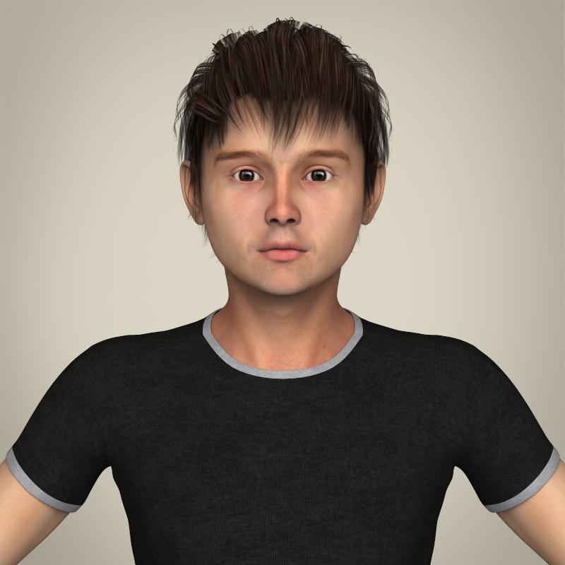 realistic young teen boy 3d model 3ds max fbx c4d lwo ma mb texture obj 206679