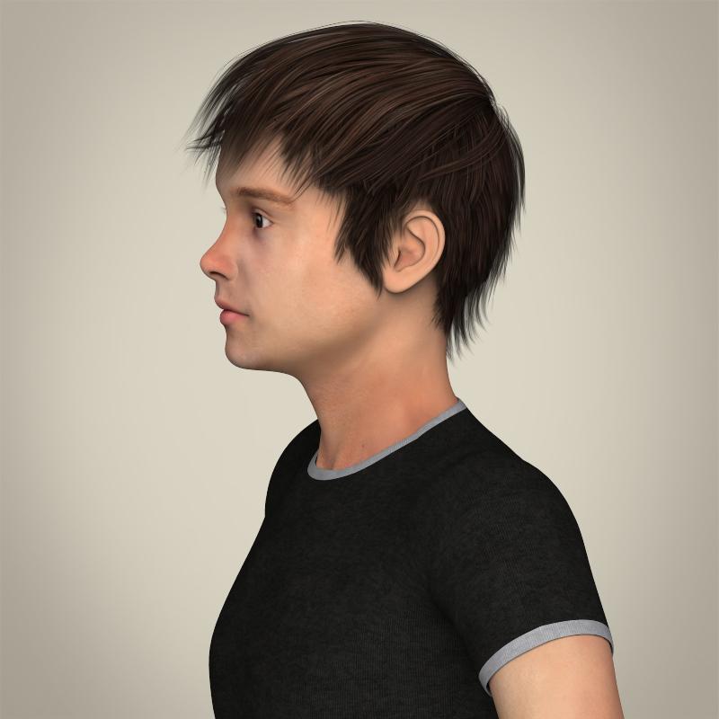 realistic young teen boy 3d model 3ds max fbx c4d lwo ma mb texture obj 206680