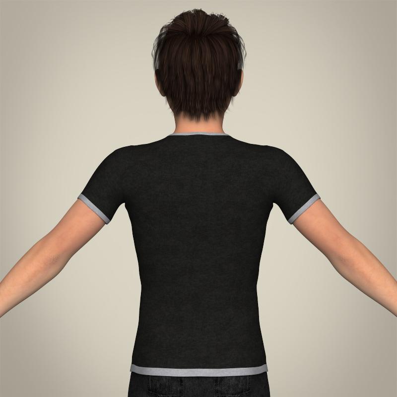 realistic young teen boy 3d model 3ds max fbx c4d lwo ma mb texture obj 206688