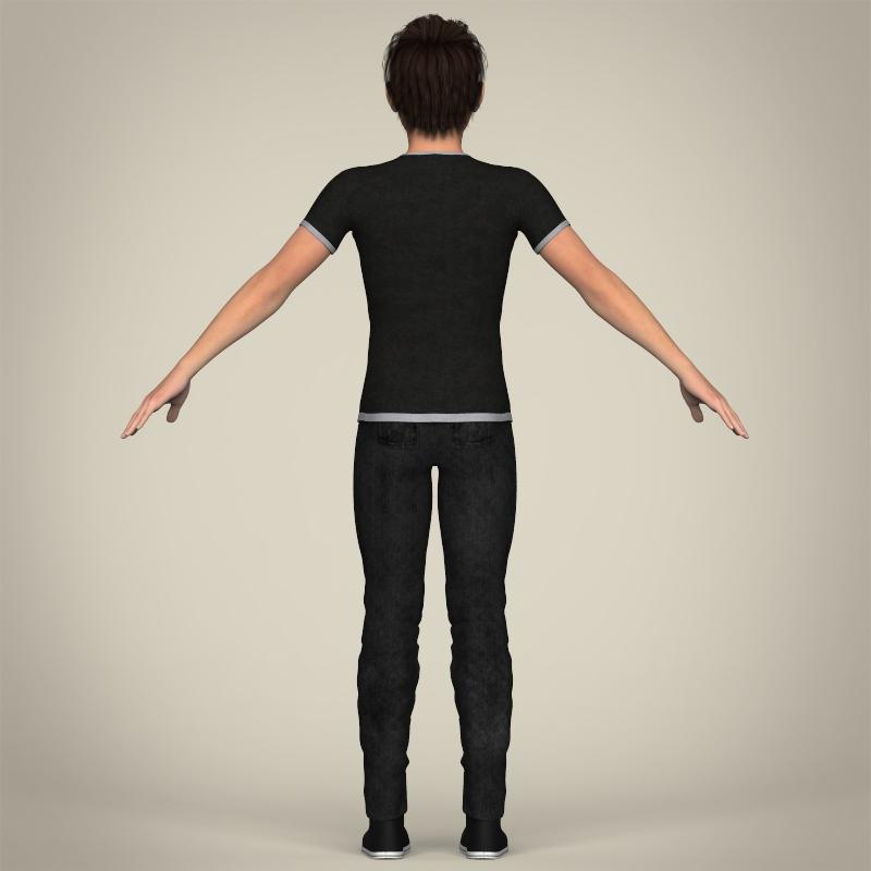 realistic young teen boy 3d model 3ds max fbx c4d lwo ma mb texture obj 206690