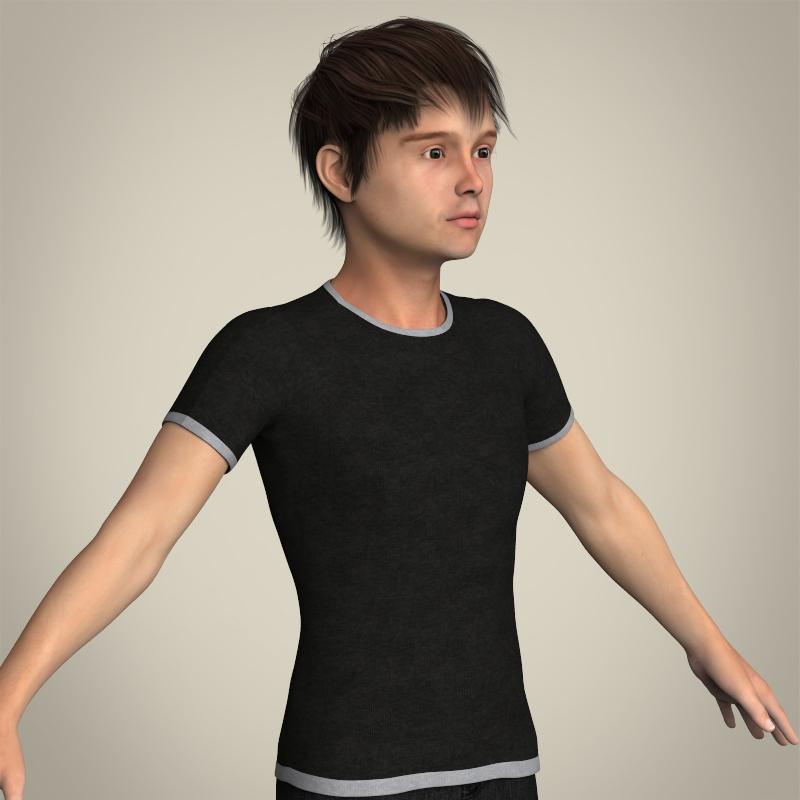 realistic young teen boy 3d model 3ds max fbx c4d lwo ma mb texture obj 206692