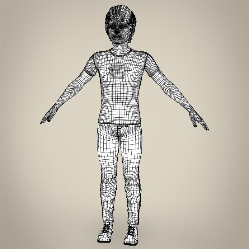 realistic young teen boy 3d model 3ds max fbx c4d lwo ma mb texture obj 206699
