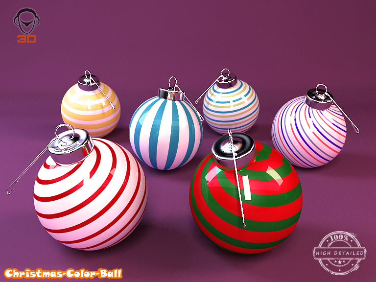 detailed christmas color ball 3d model 3ds max fbx obj 206985