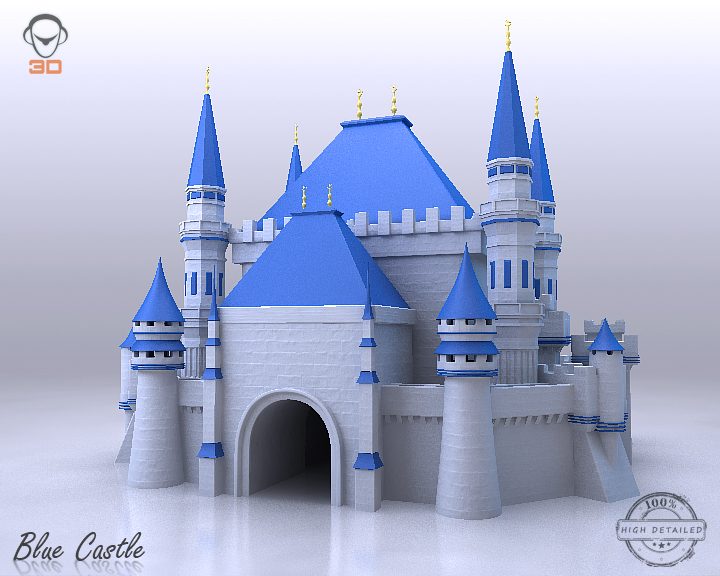 blue castle 3d model 3ds max fbx flt 206996