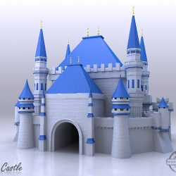 Blue Castle 3d model 3ds max fbx flt