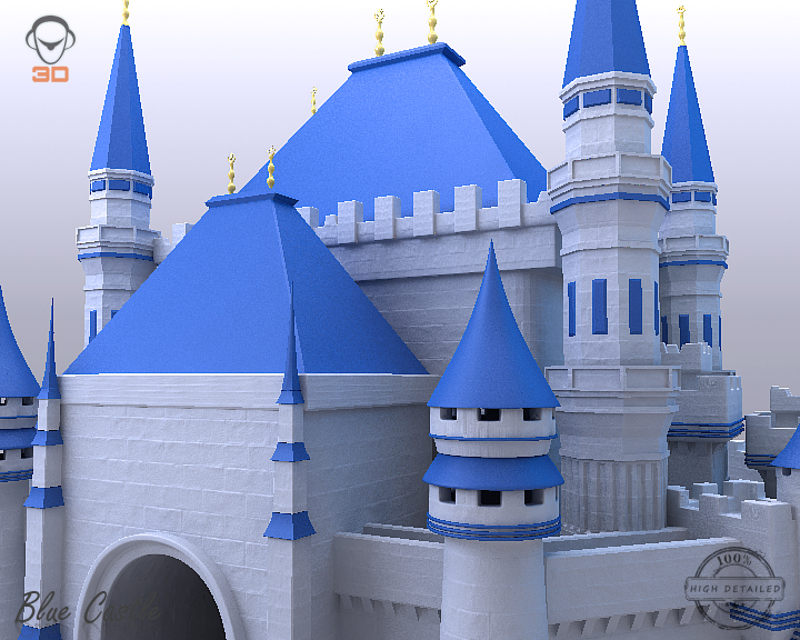 blue castle 3d model 3ds max fbx flt 206998