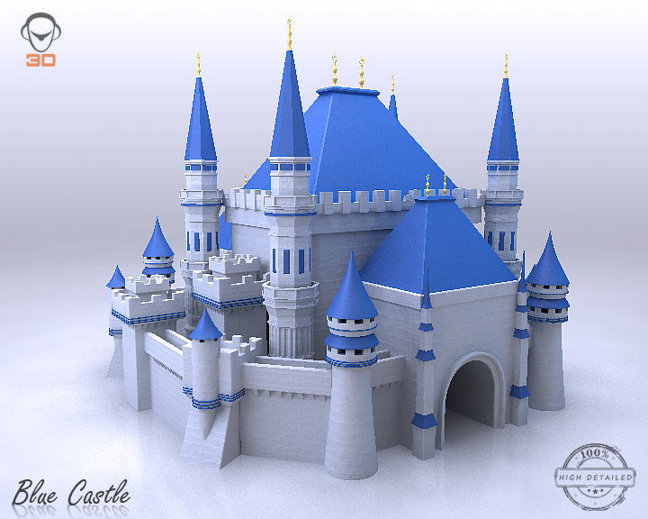 blue castle 3d model 3ds max fbx flt 206999