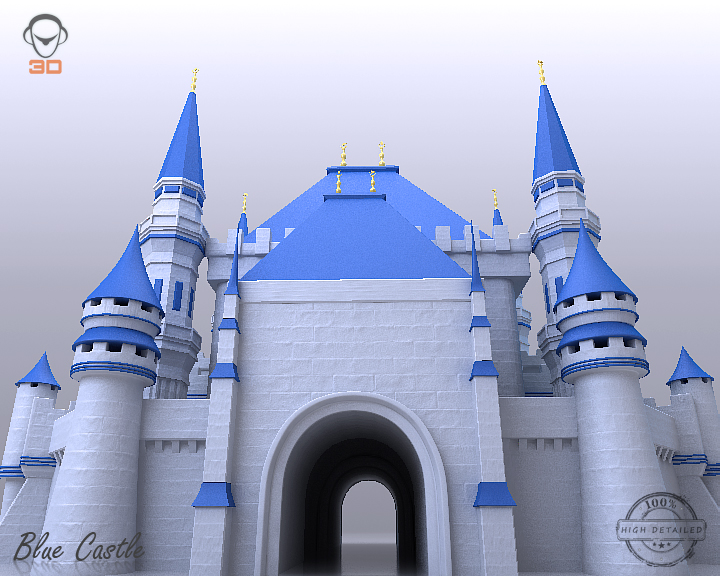 blue castle 3d model 3ds max fbx flt 207002