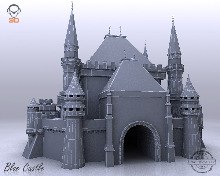 blue castle 3d model 3ds max fbx flt 207003