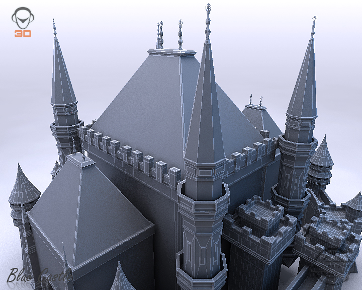 blue castle 3d model 3ds max fbx flt 207004