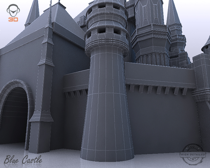 blue castle 3d model 3ds max fbx flt 207005