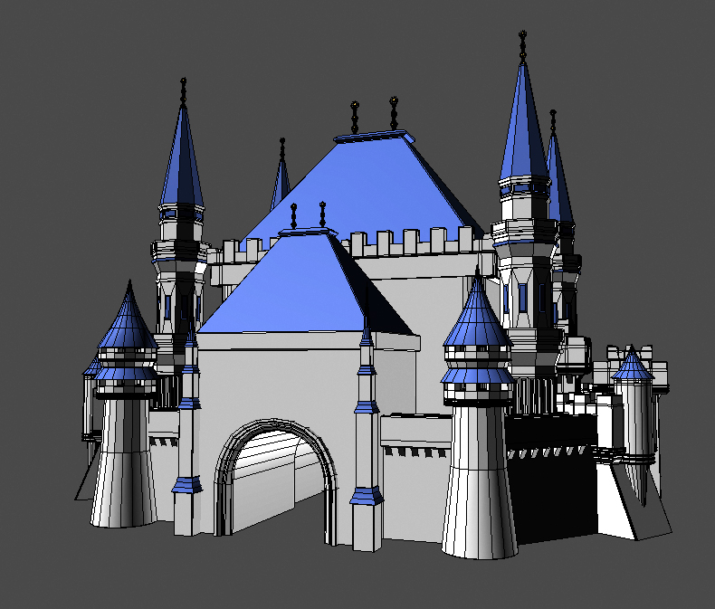 blue castle 3d model 3ds max fbx flt 207006